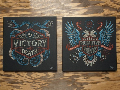 Victory or Death - Primitive Prints snakes eagle americana screen print print typography lettering illustration design art