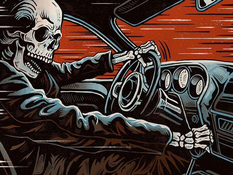 Death Racer - Screen Print death racer death challenger racer skull skeleton muscle car illustration design art