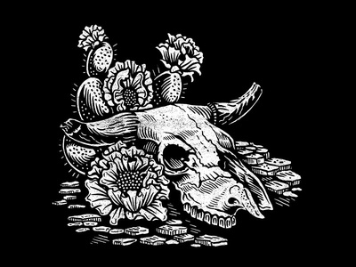Cactus Blossom desert flash vector blossom skull cactus americana illustration design art