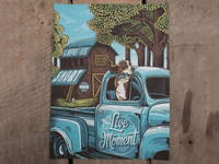 Live in the Moment - Screenprint truck antique live in the moment americana screenprint poster print illustration design art