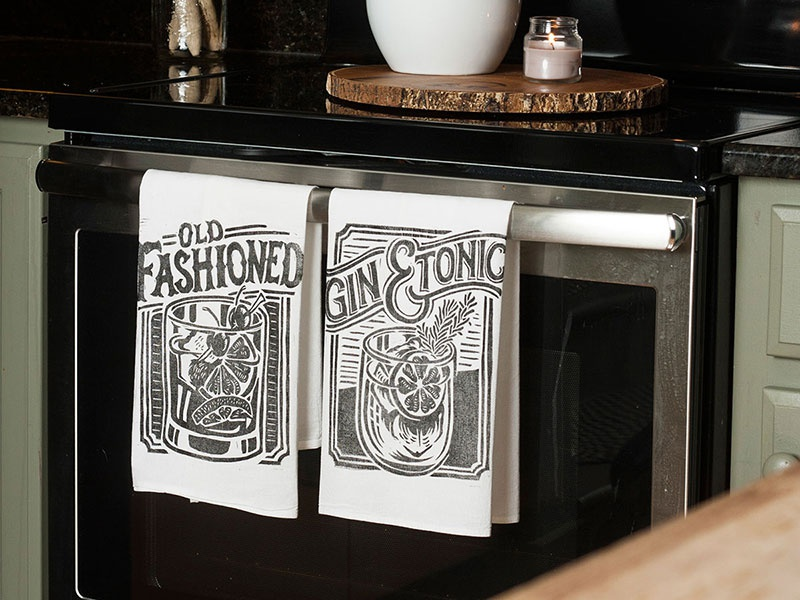 Cocktail Towel set - Old Fashioned and Gin & Tonic decor home floursack gin  tonic old fashioned gin bourbon towel cocktail illustration design art