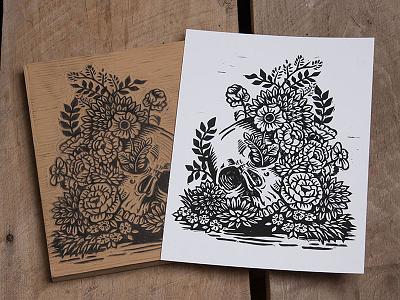 Past Lives - Block Print floral flowers skull linoprint linocut block print illustration design art