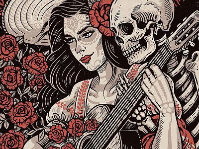 Death's Embrace - Screen Print roses death senorita folk mexican screen print poster print illustration design art