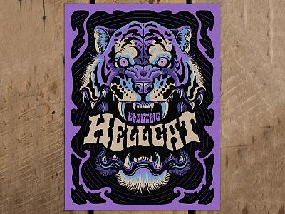 Electric Hellcat - Screen Print electric hellcat psychedelic tiger print screenprint illustration design art