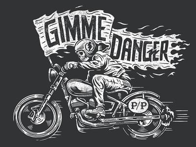 Gimme Danger bike americana danger motorcycle biker skeleton skull illustration design art