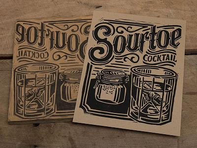 Sourtoe Cocktail - Block Print toe typography lettering cocktail sourtoe linoprint linocut block print illustration design art