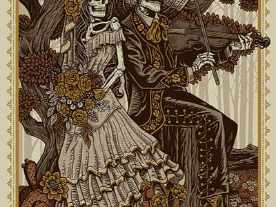 Fiesta De Bodas fiddle dia de los muertos mariachi folk mexican illustration design art