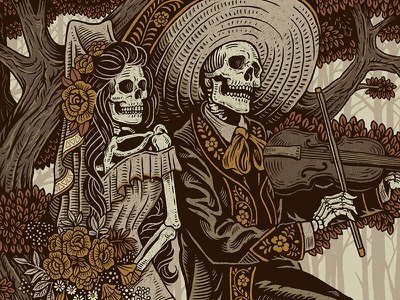 Fiesta De Bodas fiddle dia de los muertos mariachi folk mexican illustration design art