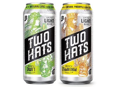 Two Hats - Light Beer cards queen king beer two hats packaging illustration design art