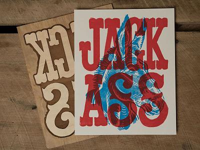 Jack Ass - Block Print ass jackass jack ass donkey typography lettering block print illustration design art