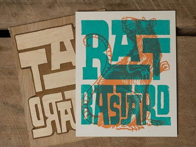 Rat Bastard - Block Print rat bastard bastard rat lettering typography block print print making print illustration design art