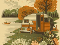 Life is good in Tennessee lake mountains tennessee camper trailer outdoors americana screen print print illustration design art