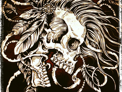 Mohawk derrick castle derrick straw castle nashvillemafia design graphic design illustration art americana nashville drawing castle native native american tribal feathers mohawk skull