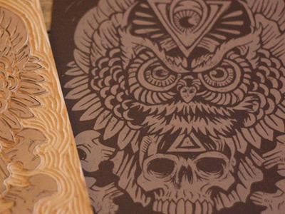 Totem of Wisdom - Print derrick castle derrick straw castle nashvillemafia design graphic design illustration art americana nashville drawing castle linoblock woodblock block print ink owl totem skull