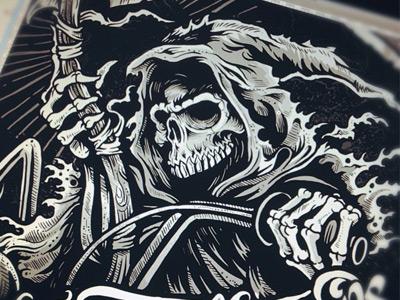 The Reaping derrick castle derrick straw castle nashvillemafia design graphic design illustration art americana nashville drawing castle tattoo reaper skull skeleton biker