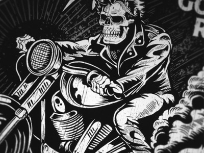 Dark Haired Rider derrick castle derrick straw castle nashvillemafia design graphic design illustration art americana nashville drawing castle tattoo greaser skull skeleton biker retro