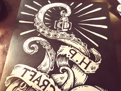 Cthulhu's Lantern derrick castle derrick straw castle nashvillemafia design graphic design illustration art americana nashville drawing castle cthulhu h.p. lovecraft lovecraft tentacles linoprint woodblock block print