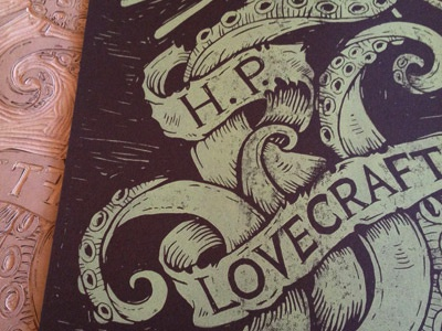 Lovecraft Cthulhu Block Print derrick castle derrick straw castle nashvillemafia design graphic design illustration art americana nashville drawing castle cthulhu h.p. lovecraft lovecraft tentacles linoprint woodblock block print