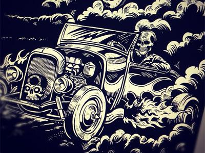 Death Racer derrick castle derrick straw castle nashvillemafia design graphic design illustration art americana nashville drawing castle tattoo greaser skull skeleton hot rod retro