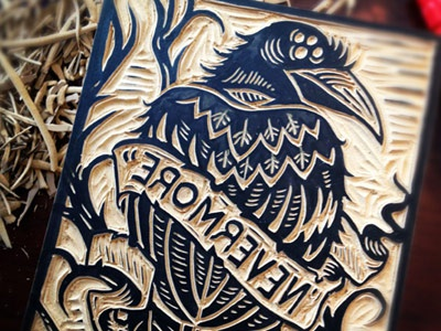 Nevermore carved dribbble