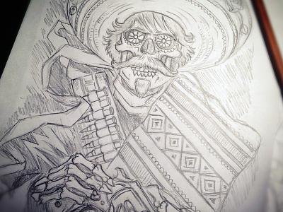 Loco Bandito - Sketch derrick castle derrick straw castle nashvillemafia design graphic design illustration art americana nashville drawing castle loco dead los muerto bandito