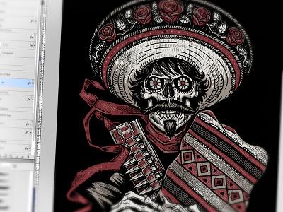 Loco Bandito  derrick castle derrick straw castle nashvillemafia design graphic design illustration art americana nashville drawing castle loco dead los muerto bandito