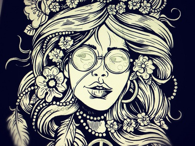 Flower Child derrick castle derrick straw castle nashvillemafia design graphic design illustration art americana nashville drawing castle flower child dove free love groovy 60s hippie
