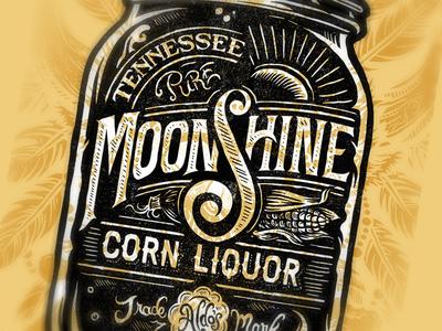 Pure Tennessee Moonshine Corn Liquor derrick castle derrick straw castle nashvillemafia design graphic design illustration art nashville drawing castle branding typography moonshine liquor tennessee