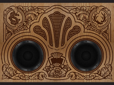 Wood Engraved Boombox