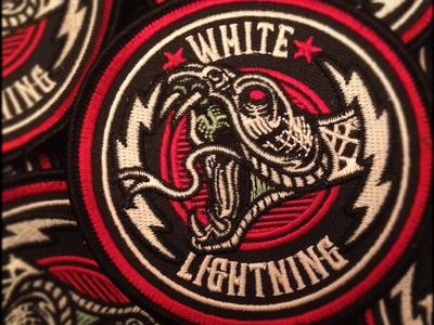White Lightning - Custom Embroidered Patch derrick castle derrick design illustration graphic design art nashville castle branding white lightning moonshine snake lightning bootlegger patch embroidery