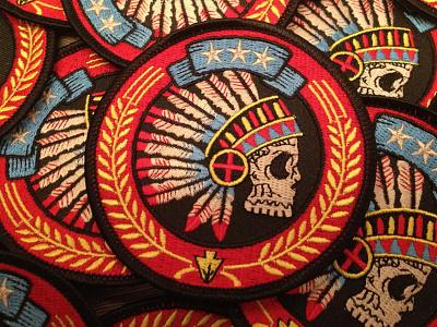 Tribal Headdress - Embroidered Patch derrick castle derrick design illustration graphic design art nashville castle branding headdress tribal native patch embroidery