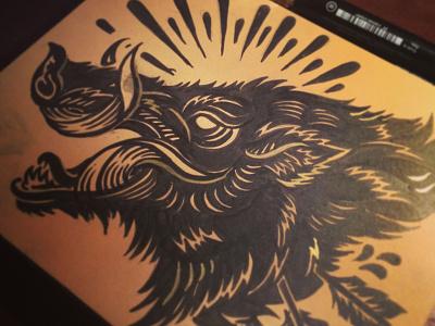 Bush Hog - Block print inked derrick castle derrick design graphic design americana folk nashville castle block print linocut boar hog bush hog