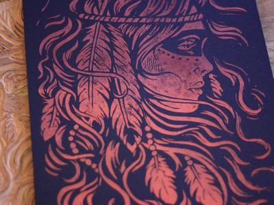 Burning Feather - Block Print