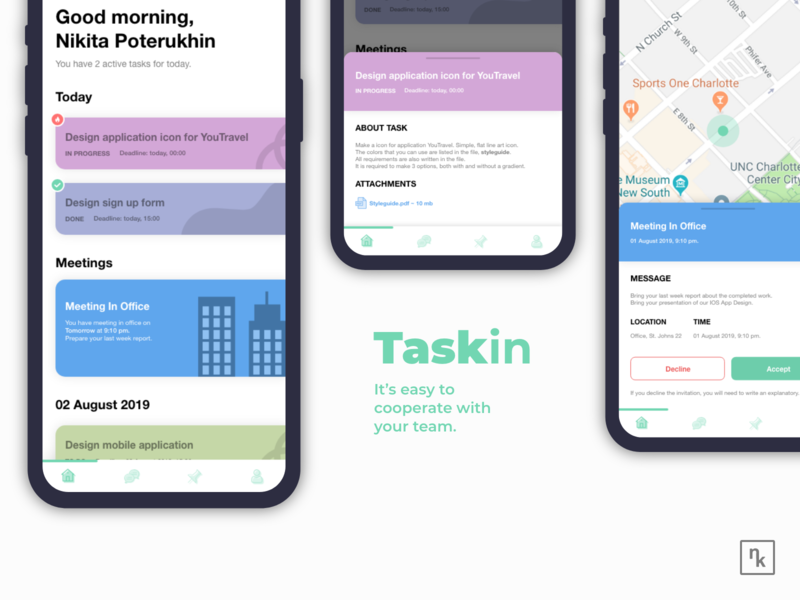 Design Team Cooperation Mobile Application - Taskin trend taskin application mobile app mobile app design mobile ui design slack trello