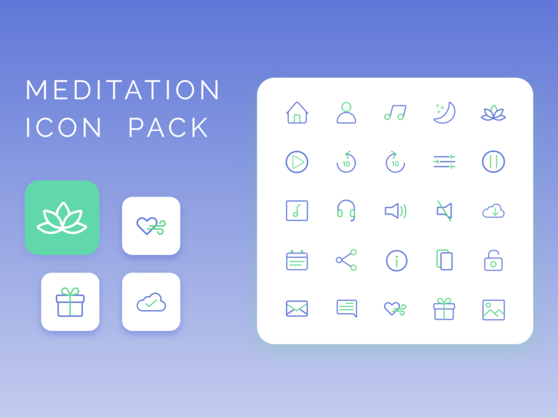 Meditation Icon Pack icon pack green blue calm illustrator icon meditation