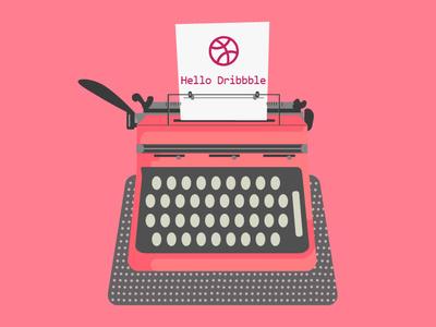 Hello Dribble writer machine writer hello dribbble illustration graphic  design graphic art dribbble