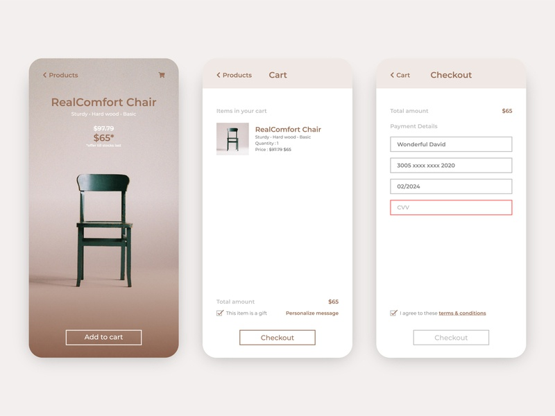 Daily UI 002 - Checkout daily ui 002 cart app shopping cart checkout cart furniture ux ui daily ui daily app android