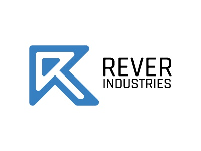 Rever Industries design logo upward direction arrow r letter