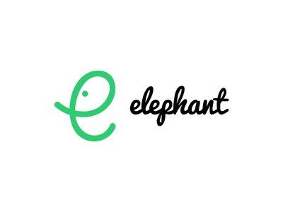 Elephant logotype minimal mark logo line illustration icon design animal letter e elephant