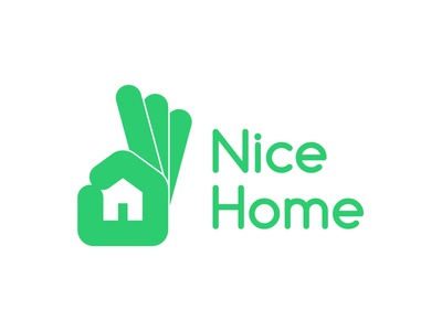 Nice Home brand identity brand design nice sign hand house construction construction company negetive space logo design logo home nice