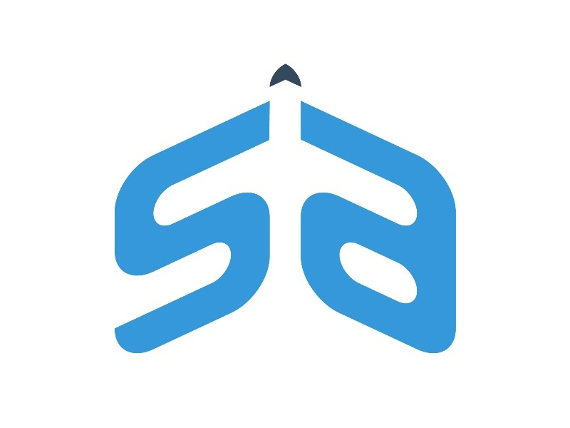 SA Logo for aircraft rental service friendly letter sa logo aircraft aeroplane corporate identity brand design logo