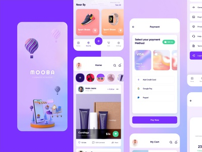 Mooba Shopping App icon app designer typography ux illustration logo ui app app design icon ui web ios guide design application design shopping app app design
