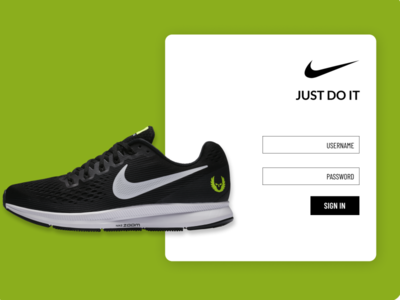 E commerce Web app Login Page Concept for Nike