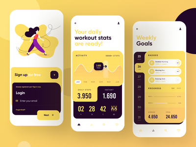 Workout App ui ux app ui design calendar timer app design mobile app chart progress badges goals login stats walk health workout
