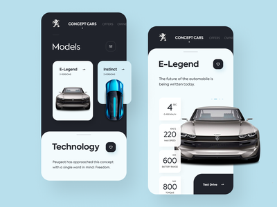 Peugeot Concept Cars automobile app car mobile app car technologies consept cars instinct e-legend mobile app car peugeot