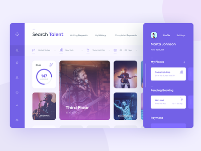 Talent Booking 🎹 web design icon web interface ux design ui design dashboard webapp webdesign reservation booking filter search page find search talent