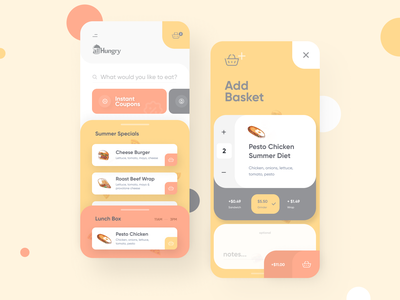 Food Delivery App illustration interface ui app design mobile app ux design ui design restaurant menu food menu listing specials checkout add basket food delivery application food order order app delivery app food delivery app