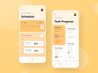 Schedule App projects progress weekly view events task listing task progress calendar mobile app application schedule