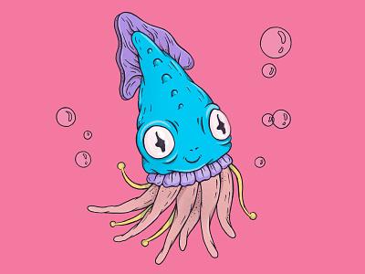 Сute squid octopus sea squid draw cartoon monster caracter illustration