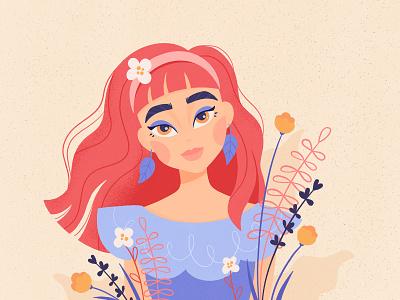 Portrait portrait botanic flower girl design illustration procreate caracter